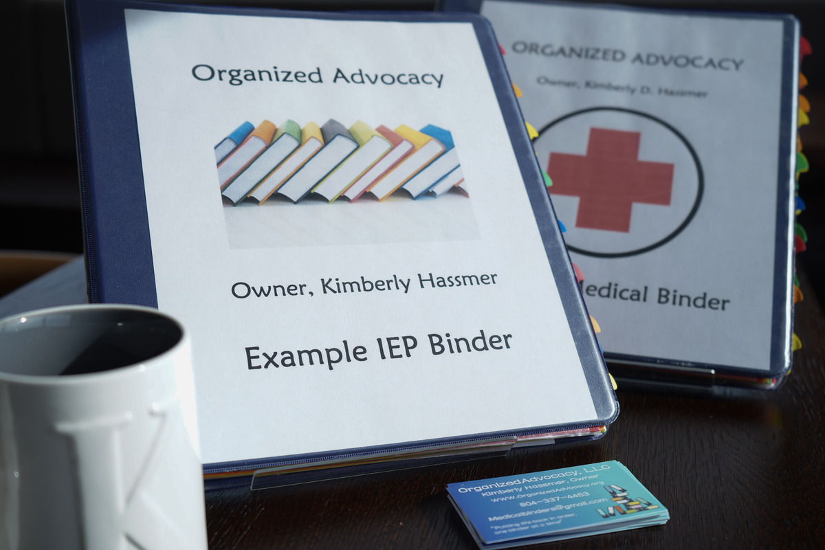 Image of example IEP binder for Organized Advocacy